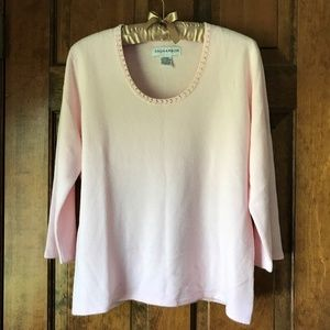 Sag Harbor Pale Pink Sweater w/Faux Pearls Medium